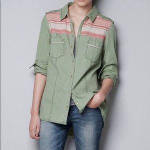 Zara button down military style top